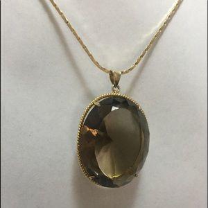 Smokey Quartz 14KP Oval Necklace